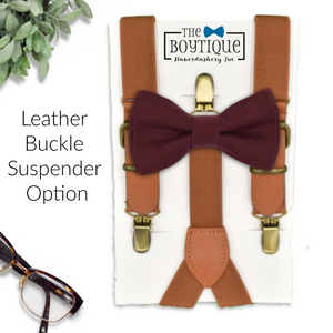 burgundy bow tie and leather suspenders