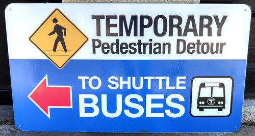 To Shuttle Busses (Left Arrow) Bus Sign