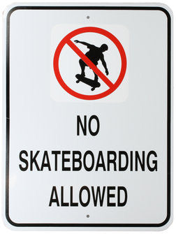 No Skateboarding Large Warning Sign