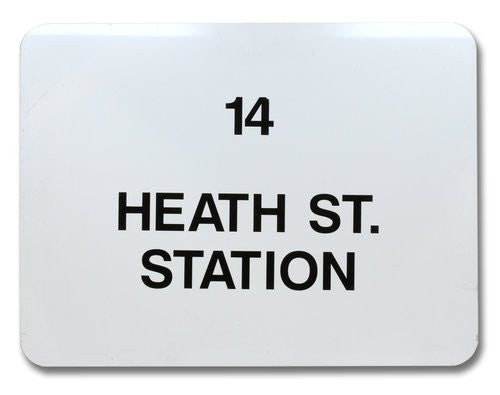 Route 14 Heath St. Station Bus Sign