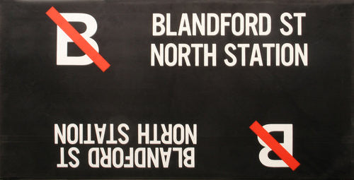 B Blandford St North Station Roll Sign (Boeing LRV Side Destination)