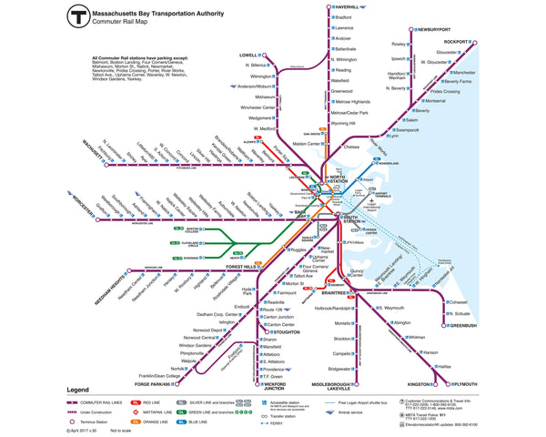 2017 MBTA Commuter Rail Map