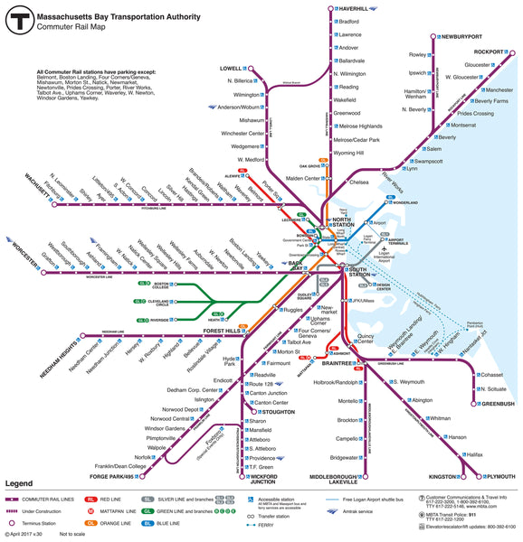 MBTA Commuter Rail Map (2017) Magnet