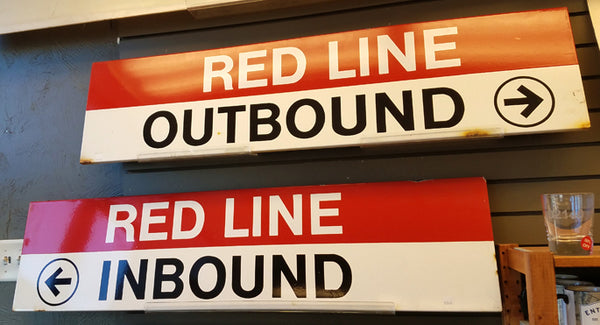 Wollaston Station - Red Line Inbound / Outbound Signs PAIR