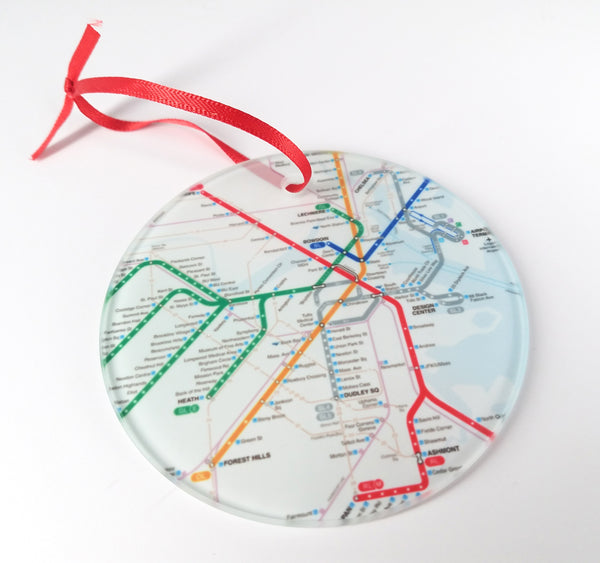 Glass MBTA Map Ornament