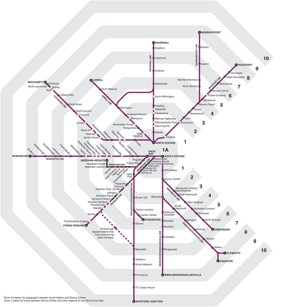 2019 MBTA Commuter Rail Zone Map