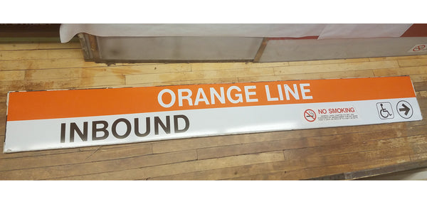 """Orange Line Inbound Right Arrow"" Sign from Forest Hills Station"