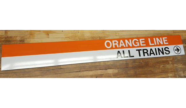 """Orange Line All Trains Right Arrow"" Sign from Forest Hills Station"
