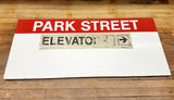 Park Street Station: Red Line; Elevator Right Sign