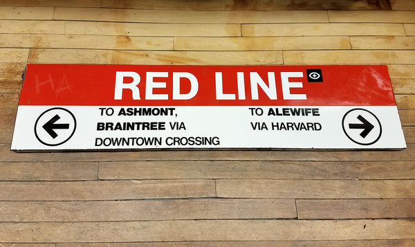 Park Street Station: Red Line Ribbon 4' To Ashmont To Alewife Sign