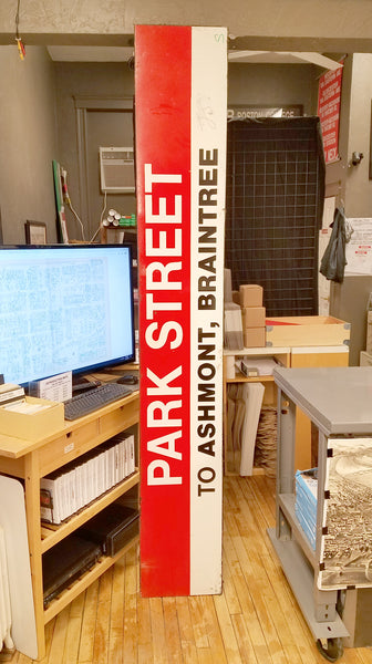 "Park Street Station: Red Line ""To Ashmont Braintree"" 8' Ribbon Sign"