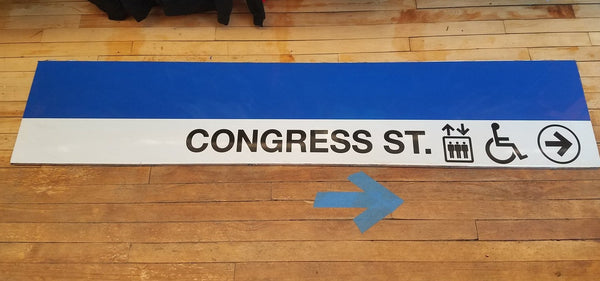 "Blue Line ""Congress St."" Elevators Sign from State Station"