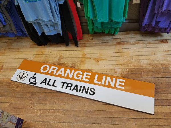 "Orange Line ""Down Arrow, All Trains"" State Station Sign"