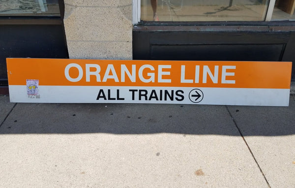 "Orange Line ""All Trains"" (with sticker) State Station Sign"
