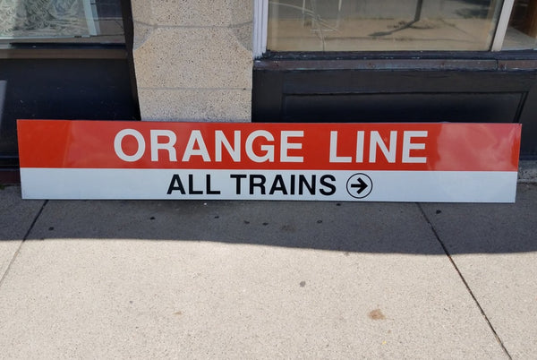 "Orange Line ""All Trains, Right Arrow"" State Station Sign"