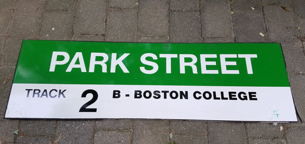 "Green Line ""Track 2 B Boston College"" Sign from Park Street Station"