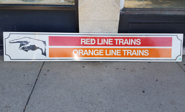 "Left Hand Pointer to ""Red Line / Orange Line Trains"" Sign from Park Street Station"
