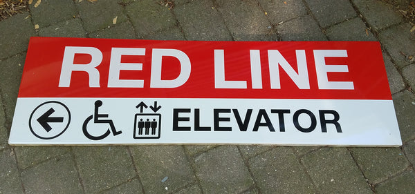 "Red Line ""Left to Elevator"" Sign from Park Street Station"