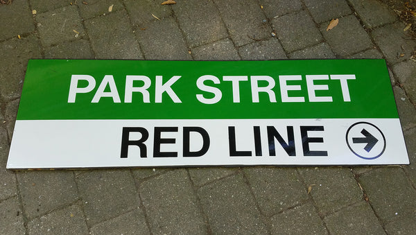 "Green Line ""Park Street; Red Line To Right"" Sign from Park Street Station"