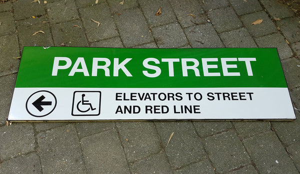 "Green Line ""PARK STREET; Left to Elevators"" Sign from Park Street Station"