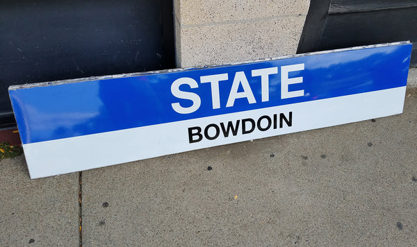 "Blue Line ""STATE; BOWDOIN"" Sign from State Station"