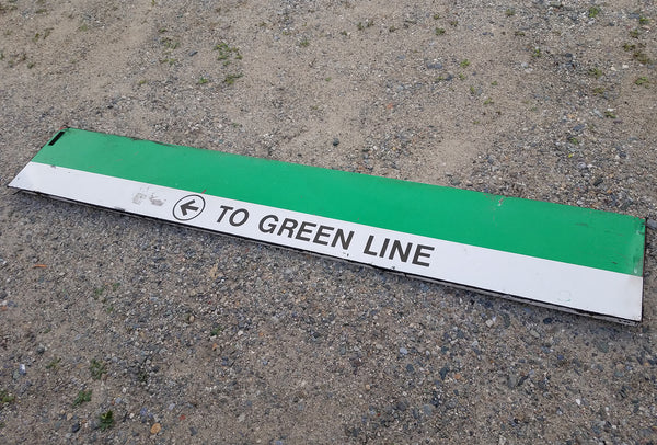 "Green ""Left TO GREEN LINE"" Sign from Park Street Station"