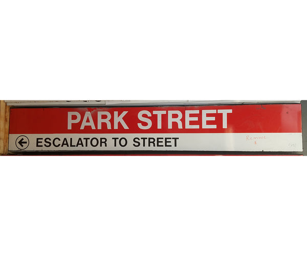 "Red Line ""PARK STREET; LEFT ESCALATOR TO STREET"" From Park Street Station"