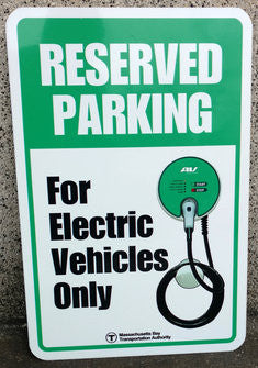 Reserved Parking for Electric Vehicles Warning Sign