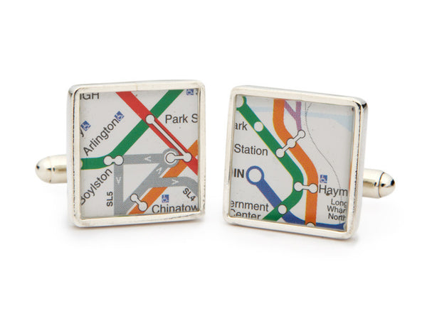 Sterling Silver MBTA Map Cuff Links - CLEARANCE