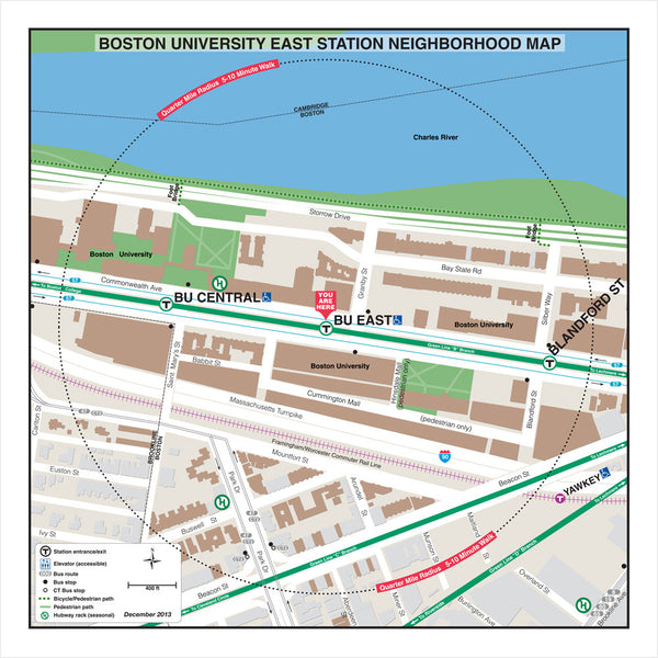 Boston University East Neighborhood Map (Dec. 2013) Fine Art Print