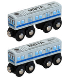 MBTA Blue Line Wooden Toy Train PAIR