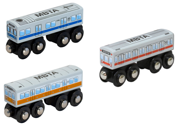 MBTA Three-Car Wooden Toy Train Set