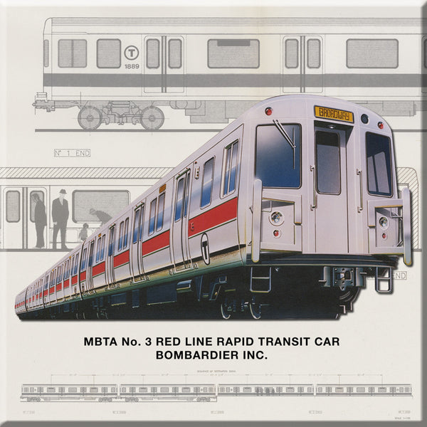 MBTA Red Line Rapid Transit Car Magnet