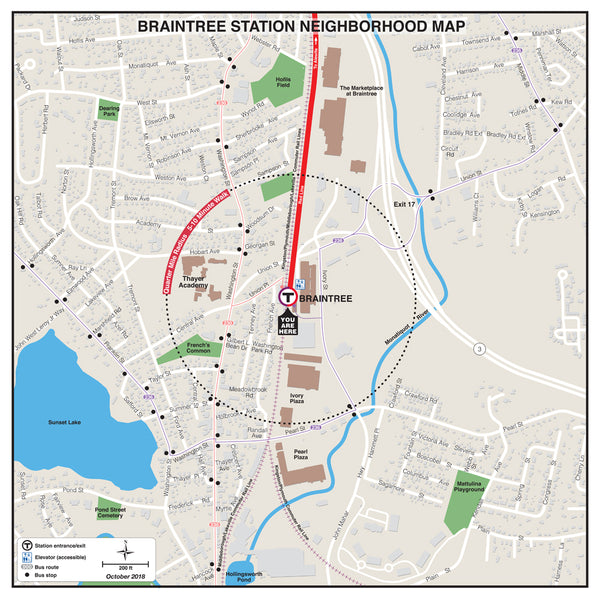 Braintree Station Neighborhood Map (October 2018)