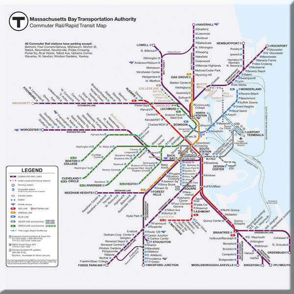 MBTA Commuter Rail Map (2014) Magnet - Clearance!