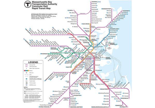 2011 MBTA Commuter Rail Map w/Rapid Transit