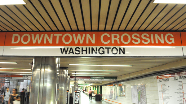 """Downtown Crossing - Washington"" Orange Line Station Sign"