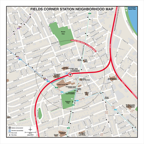 Fields Corner Station Neighborhood Map (Jul. 2012)