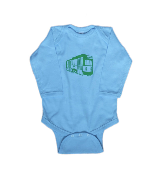 MBTA Green Line Light Blue Long Sleeve Onesie