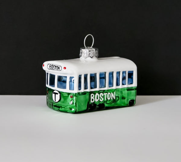 MBTA Green Line Trolley Glass Ornament