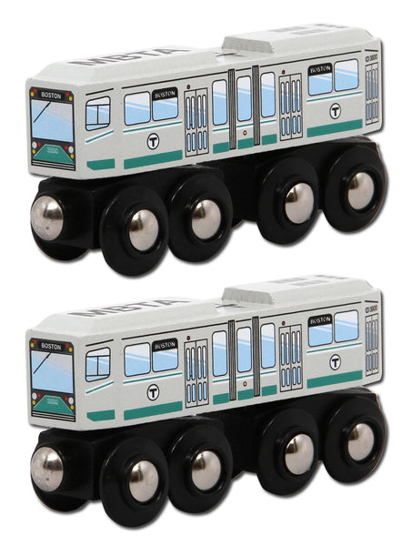 MBTA Green Line Wooden Toy Train PAIR