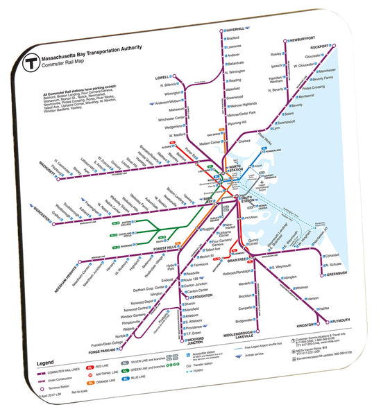 MBTA Commuter Rail Map (2017) Coaster