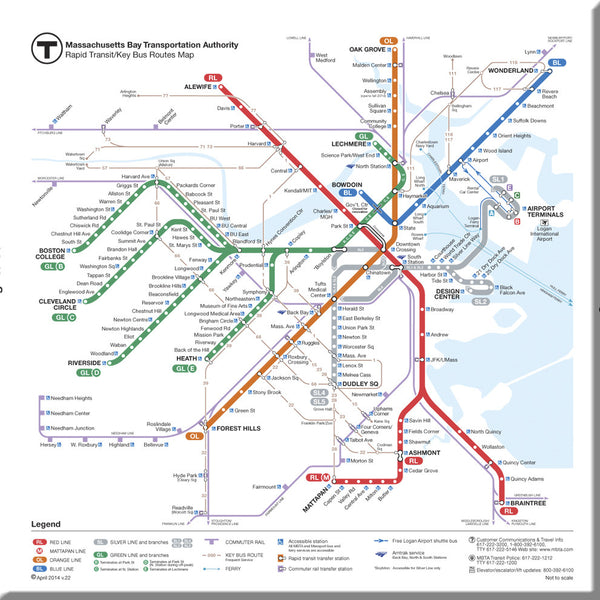 MBTA Rapid Transit Map (2014) Magnet - CLEARANCE!