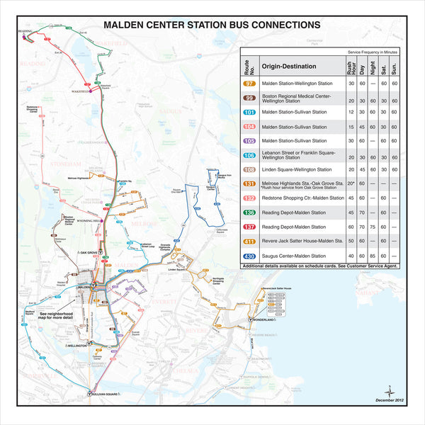 Malden Center Station Bus Connections (Dec. 2012)