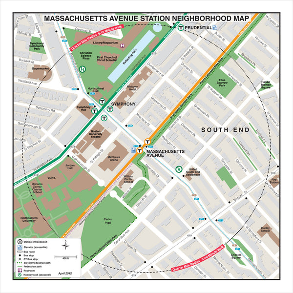 Massachusetts Ave Station (Orange Line) Neighborhood Map (Apr. 2012)