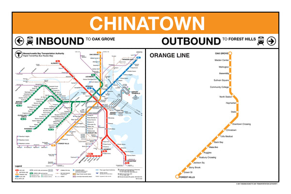 Orange Line Boston Map Orange Line Station Panel Print – MBTAgifts by WardMaps LLC
