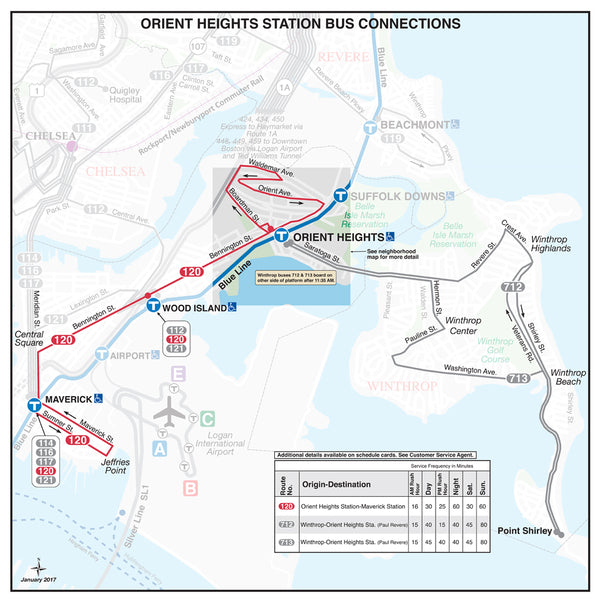 Orient Heights Station Bus Connections Map (January 2017)