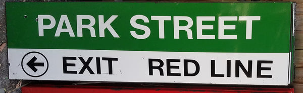 "Green Line ""Park Street; Left Exit - Red Line"" Sign from Park Street Station"