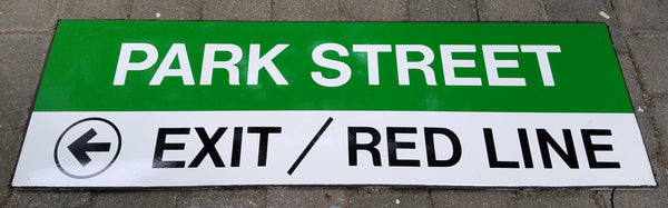 "Green Line ""Park Street; Left Exit / Red Line"" Sign from Park Street Station"