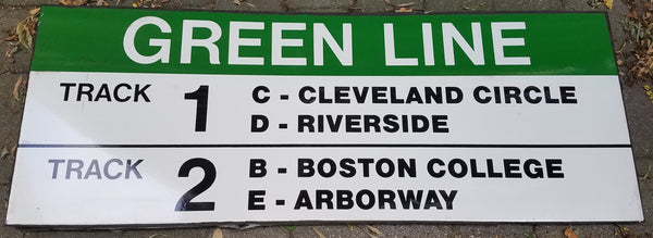 Green Line Track 1 and Track 2 Sign from Park Street Station